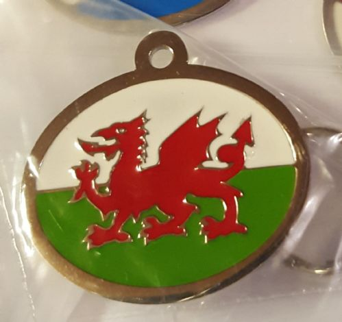 Wales tag laser engraved